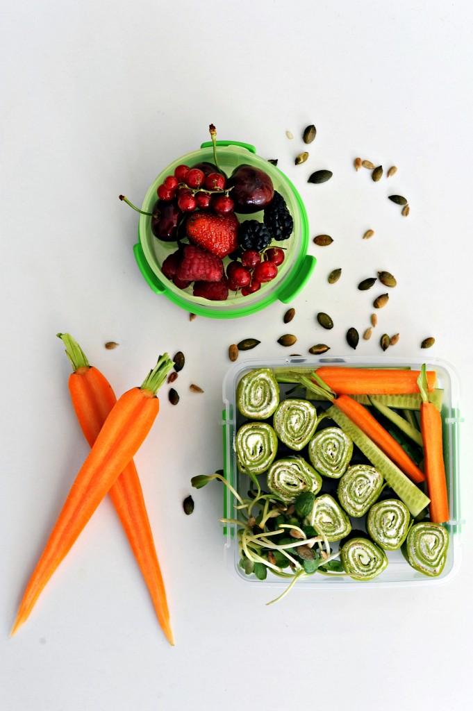 Lunch box - Zielone naleśniki z twarożkiem