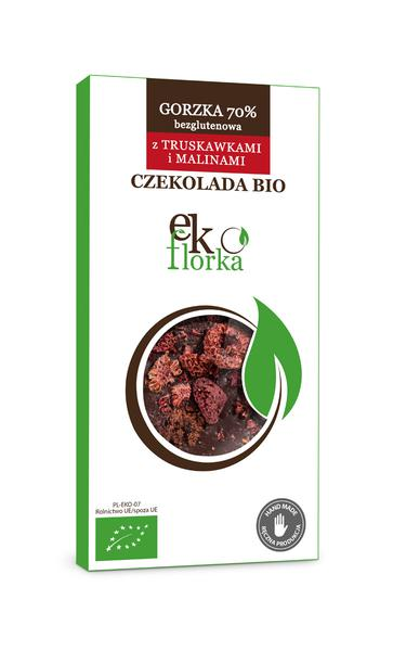 Produkt Czekolada gorzka 70% z malinami i truskawkami bezglutenowa (EKO) - zdrowa żywność blisko Ciebie