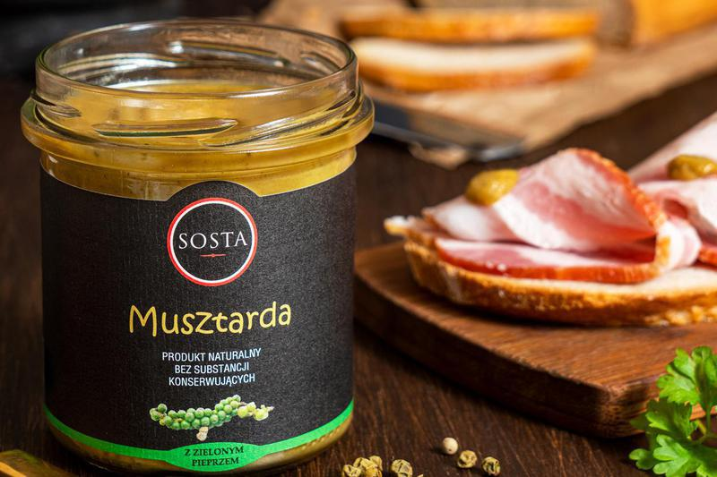 Produkt Musztarda z zielonym pieprzem 320 g SOSTA - zdrowa żywność blisko Ciebie
