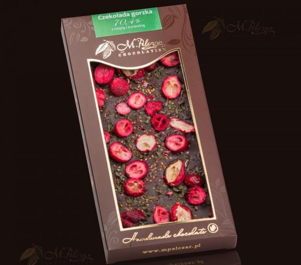Produkt Czekolada gorzka 70,4% z miętą i żurawiną - M. Pelczar - zdrowa żywność blisko Ciebie